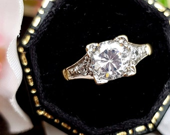 Vintage 1991 Art Deco Style 9ct Yellow & White Gold Crystal Solitaire Ring / Size L