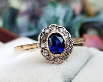 b0f03dca7e1c Vintage 1959 9ct Gold Classic Blue Sapphire and White Spinel Cluster Ring    Size O or 7.5