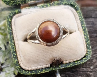 Vintage / Sterling Silver Statement Hazelnut Brown Cultured Pearl Ring / Size N 1/2