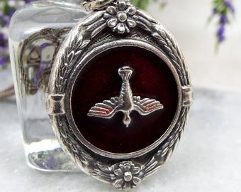 Vintage / Silver Tone and Red Enamel Saint Esprit French Dove Pendant Necklace
