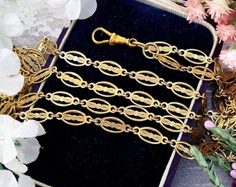 """Antique Victorian Rolled Gold Ornate Fancy Link Long 54"""" Guard or Muff Link Chain Necklace with Albert Clasp"""