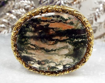 Antique Georgian 18ct Gold Cased Amazing Large Moss Agate Chased Brooch Pendant