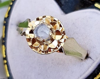 Vintage Art Deco 18ct Gold & Platinum Rose Cut Diamond Solitaire Ring / Size L