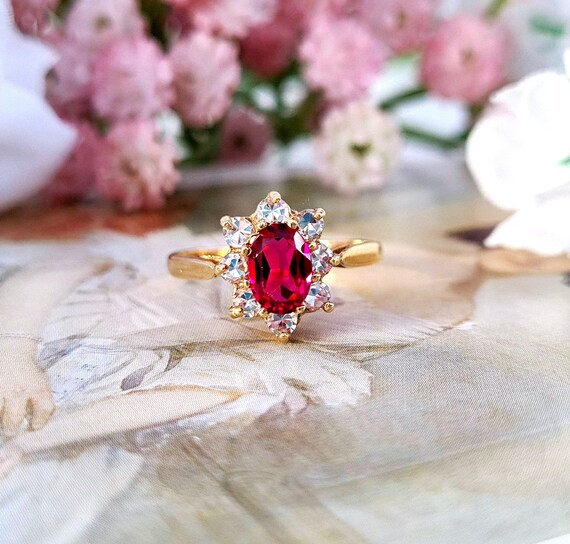 US 6.75 Vibrant 9ct Gold Pink Tourmaline Emerald Cut 9ct Gold Solitaire Ring Size UK N
