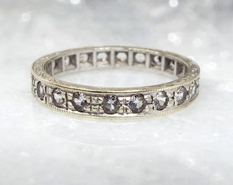 Vintage Art Deco 9ct White Gold Spinel Full Eternity Wedding Band Ring / Size M 1/2