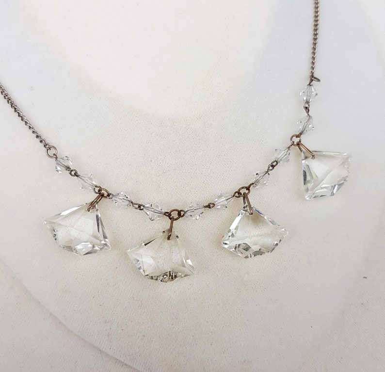 Vintage Art Deco Amazing Flapper Style Crystal Glass Statement Cocktail Necklace