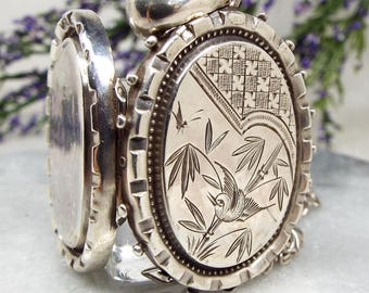 Antique 1881 Victorian Sterling Silver Aesthetic Swallow Bird Locket Necklace