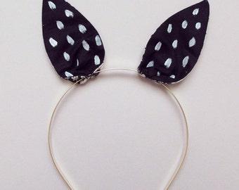 Bunny Headband black with white dots