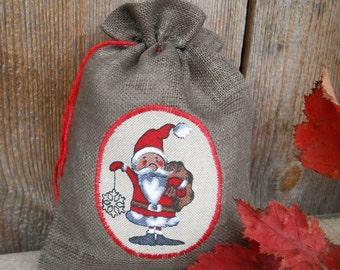 Christmas Sack Christmas Gift Bag Scandinavian Santa Sack Linen Gift Bag Christmas Bag Gnome Elf Tomte Nisse Gift Wrap Swedish Christmas