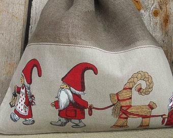 Scandinavian Christmas Gift Bag Holiday Gift Bag Santa Sack Linen Gift Bag Christmas Bag Gnome Elf Tomte Nisse Gift Wrap Swedish Christmas