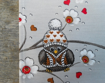 Christmas Towel Christmas Owl Tea Towel Scandinavian Christmas Tea Towel Hand Towel Kitchen Towel Dish Christmas Ornament Christmas Gift