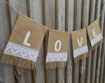 Love Wedding Banner Love Banner Love Bunting Valentines Day Decor Bridal Shower Banner Wedding Banner Wedding Decoration Wedding Garland