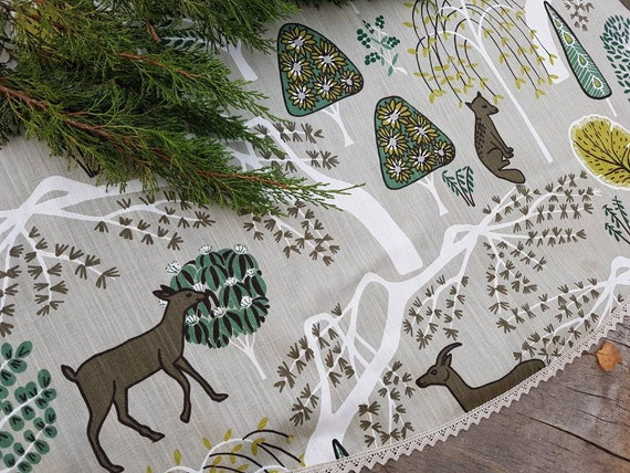Woodland Christmas Decorations.Roe Deer Christmas Tree Skirt Woodland Christmas Tree Skirt Christmas Fox Christmas Decor Swedish Fabric Swedish Christmas Decorations