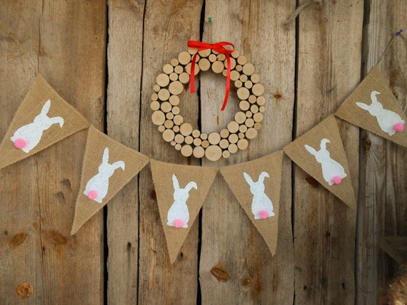 Easter Bunting Easter Decor Bunny Garland Bunny Banner Easter Bunny Burlap Banner Easter Decoration Easter Banner Easter Garland