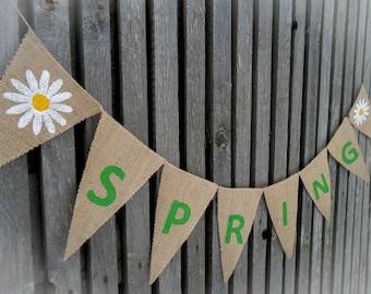 Spring Garland Spring Decor Spring Banner Spring Bunting Easter Decor  Burlap Banner Burlap Bunting Easter Banner Easter Garland