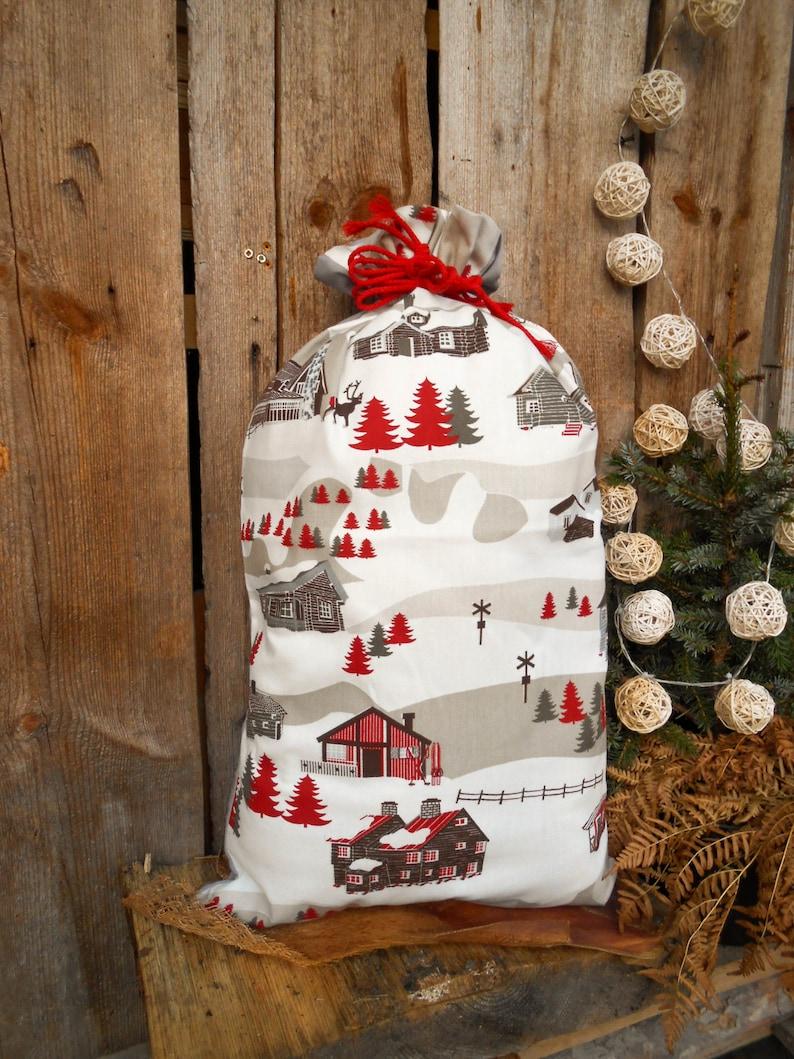 Finland Christmas Decorations.Swedish Christmas Nordic Christmas Sack Swedish Fabric Christmas Decor Scandinavian Houses God Jul Gift Bag Santa Sack Finland Gift Wrap