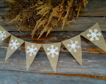 Snowflakes Garland Christmas Banner Snowflakes Banner Snowflakes Decorations Christmas Decor  Christmas Garland Holiday Banner Holiday Decor