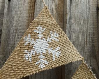 Merry Christmas Banner Christmas Garland Holiday Banner Christmas Decor Holiday Decor Holiday Garland Christmas Burlap Banner Snowflakes