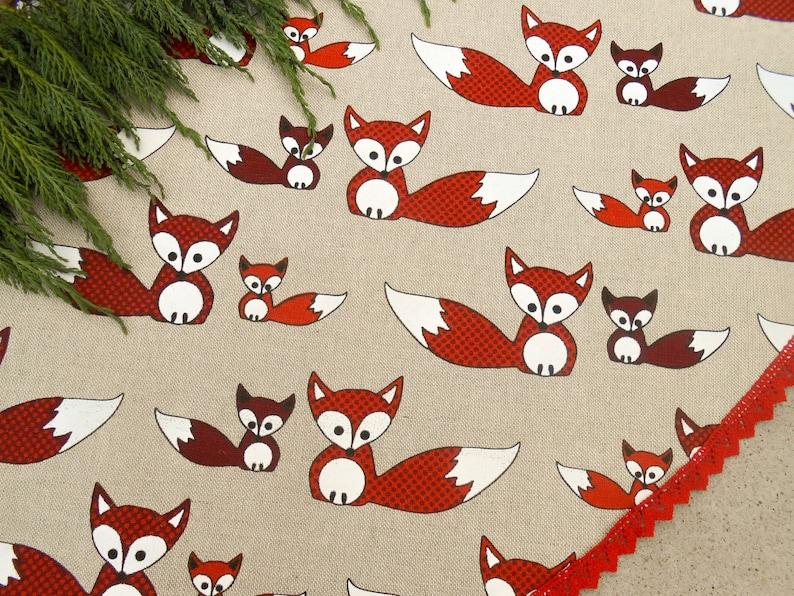 Christmas Fox Christmas Tree Skirt Christmas Decor Woodland image 0