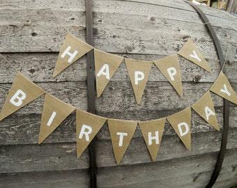 Happy Birthday Banner 1st Birthday Banner Birthday Party Decorations Happy Birthday Sign Party Decor Burlap Banner