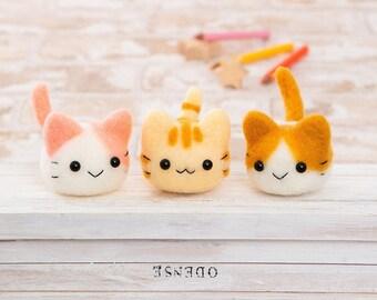 Japanese + Video Hamanaka Needle Felting Kit. 3 Cute Cat Dolls Wool Felt Kit - Nyankoro. H441-528