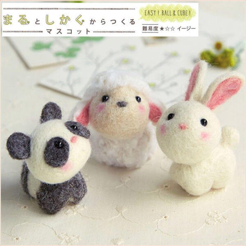 Japanese Hamanaka Needle Felting Kit. 3 Cute Dolls Wool Felt Kit  09a23e71203d