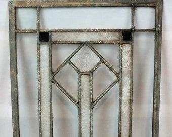 Antique C1905 Stained Leaded And Slag Glass Arts Crafts Window