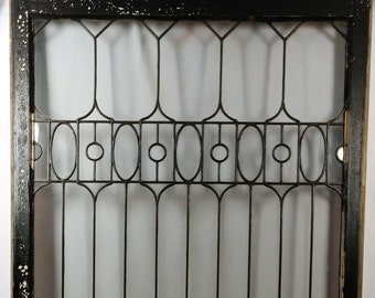 a376e079d844 Antique c1915 Large Leaded Glass Window Arts   Crafts Craftsman Style MINT
