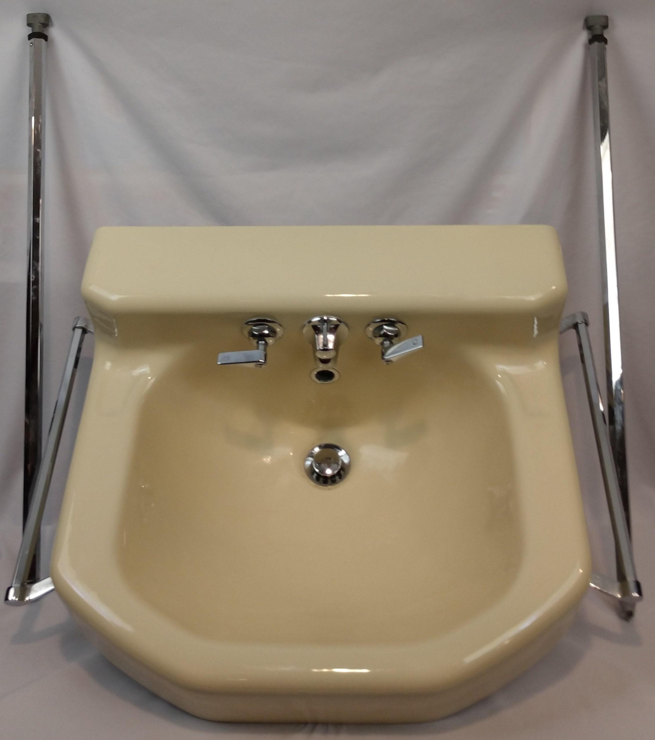 Vintage C1953 Kohler Tuscan Porcelain Over Cast Iron Bathroom Wall Sink Chrome