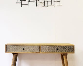 2 drawer wood metal console