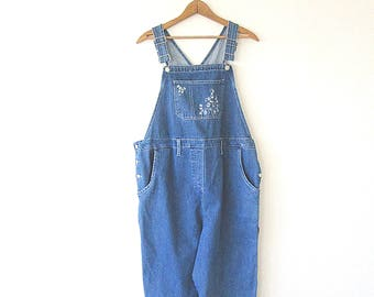 5aba425383 Wms 90 s DENIM High Waist Embroidered Relaxed Fit Crop Bib Overalls Size  Medium
