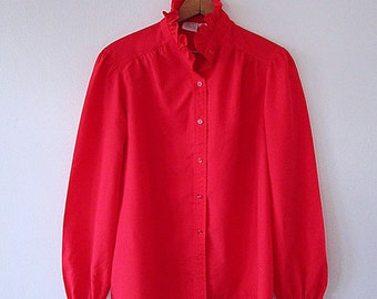 8aa23f45ed8b4b Wms Vintage 60's Red RUFFLE JcPenney Fashions Button Down Blouse Size 16  (Large)