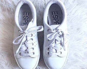 cb06e6ad613 Vintage 90 s White Chunky ESPRIT LEATHER Athletic STACKED Double Dutch Sneakers  Size 6.5