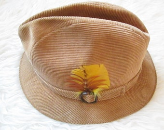 Vintage 1970s STETSON Tan CORDUROY Fedora with FEATHER Hat Sz 7 1 8 57273e1ca33d