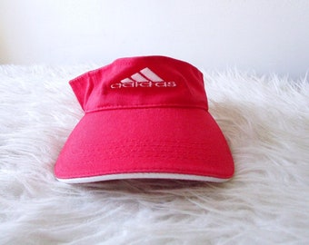 Vintage 90 s ADIDAS TREFOIL Red Embroidered Logo Sportswear Atheltic  Adjustable Visor Hat 91f351ca5cf0