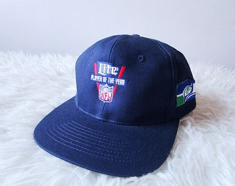 Vintage 90 s SEATTLE SEAHAWKS Miller Lite NFL Player of the Year Cortez  Kennedy Embroidered Adjustable Snap Back Hat c00878eae80f