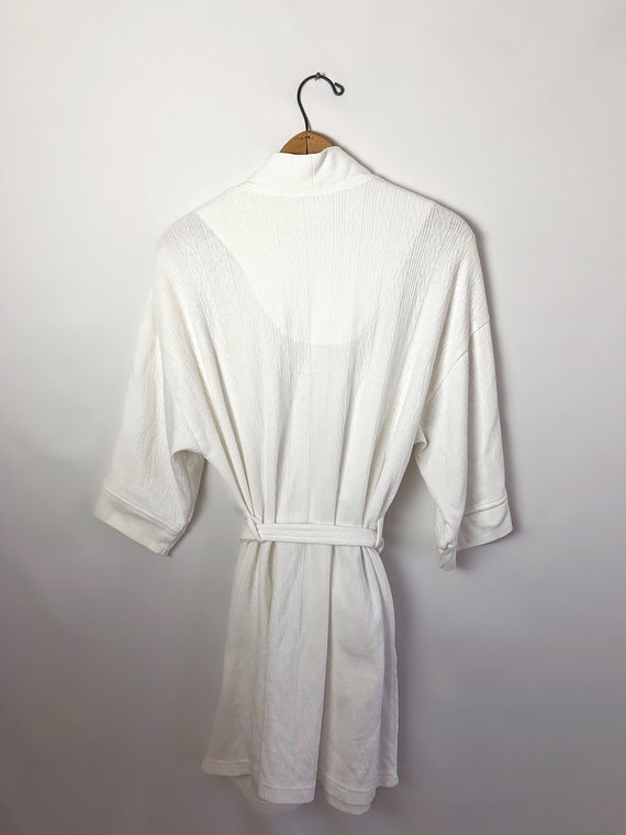 Vintage 90's Laura Ashley White Spa Short Robe wi… - image 4