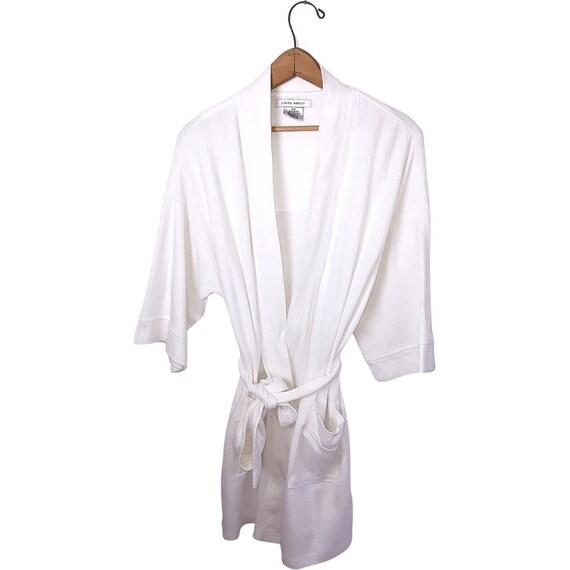 Vintage 90's Laura Ashley White Spa Short Robe wi… - image 1