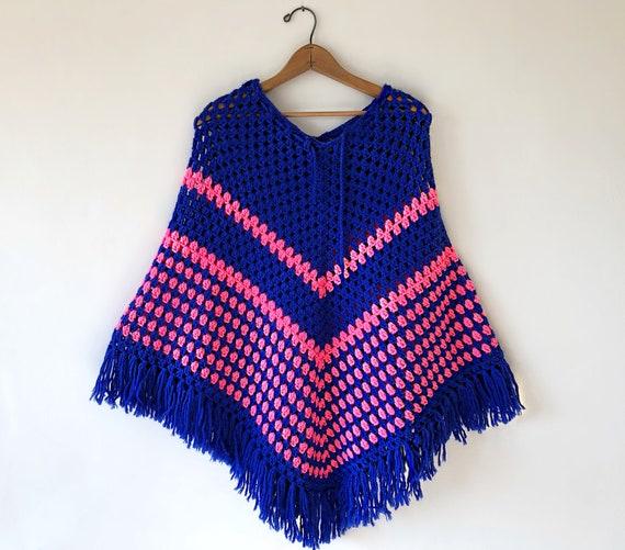 Vintage 60's 70's Hand-Crocheted Chunky Fringe Afg