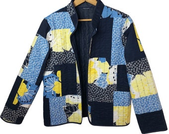 Vintage 90's Summer Patchwork Reversible Crazy Quilted Coat Wms Size Small