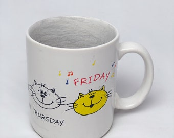 Vintage 90's Hallmark CATS MOODS Monday- Friday Work Week Funny Ceramic Coffee Cup
