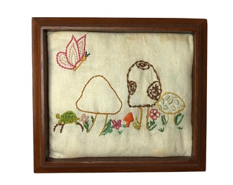 """Vintage 70's Ugly Mushroom Hippie Retro Toadstool Butterfly Framed Embroidery Art 8"""" x 9"""""""