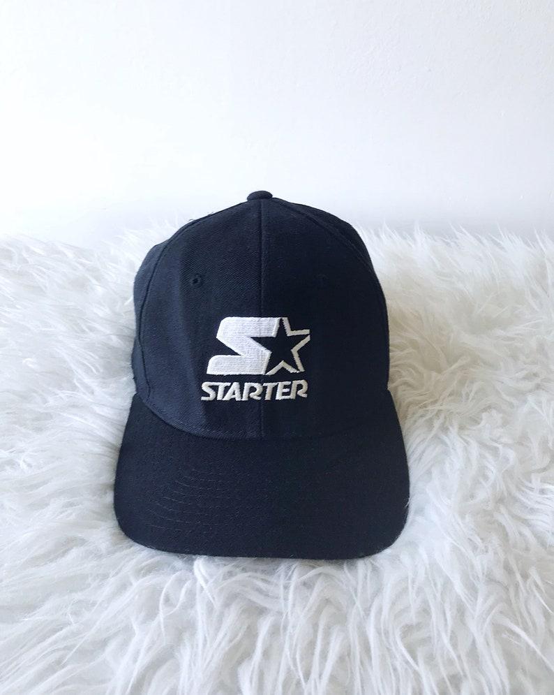 90s STARTER Logo Plain Black FITTED Hat Sz 7 7 3 4  272f95f0e98