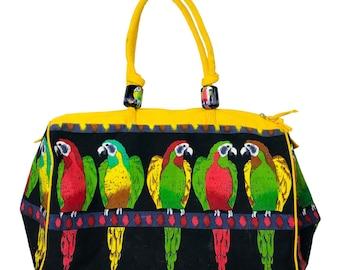 Vintage 90's Parrot Tropical Canvas Large Travel Tote Bag