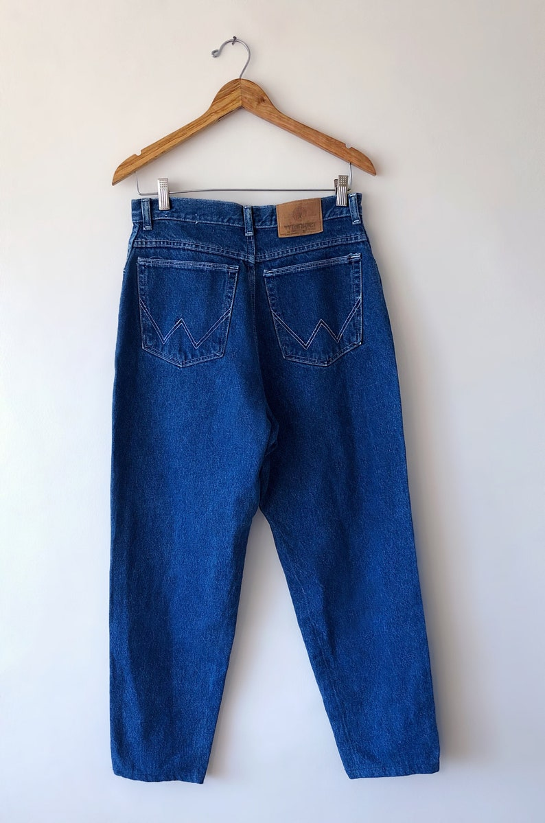 Wms Vintage 70/'s 80/'s WRANGLER High Waisted Tapered Leg Stitched Back Pocket WESTERN Jeans Size 28