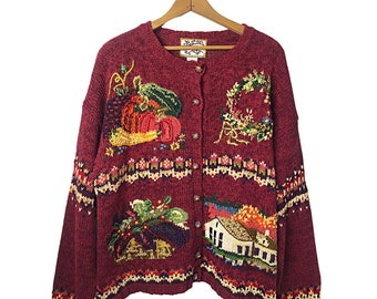 Vintage 00's Sunset Harvest Fall Chunky Cardigan Sweater Size X-Large