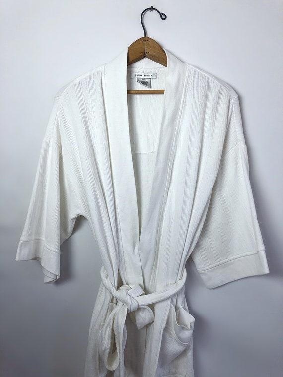 Vintage 90's Laura Ashley White Spa Short Robe wi… - image 2