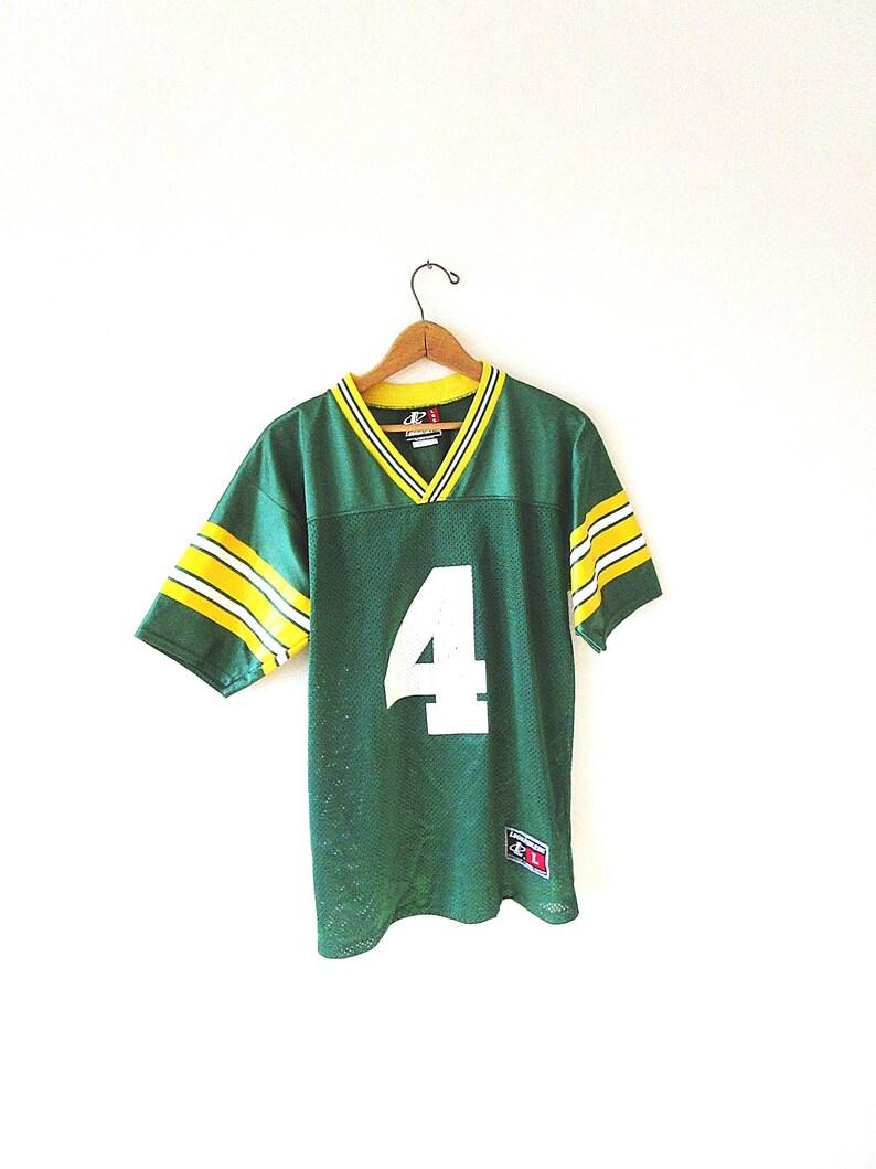new concept fd3ba b2c3c Vintage 90's BRETT FAVRE Green Bay PACKERS Mesh #4 Logo Athletic Football  Jersey Shirt Kids Sz 14/16, Adult Sz S