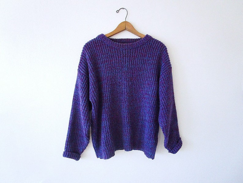 e52ae7f7a4b Vintage 90's PURPLE Marled CHUNKY KNIT Oversized Confetti Crew Neck Sweater  Size Medium/Large