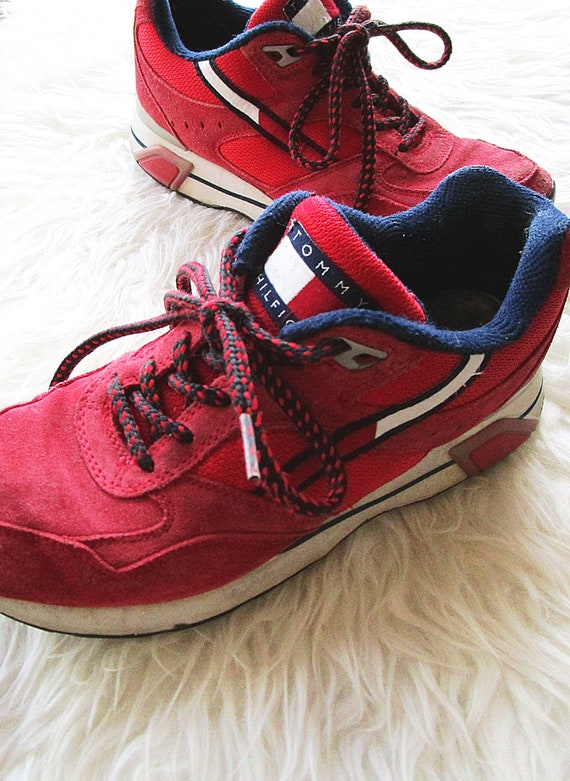 Red 90's TOMMY Sneakers Suede CHUNKY HILFIGER Sz Lace Up 8 5 Wms 6tZ41qxwdZ